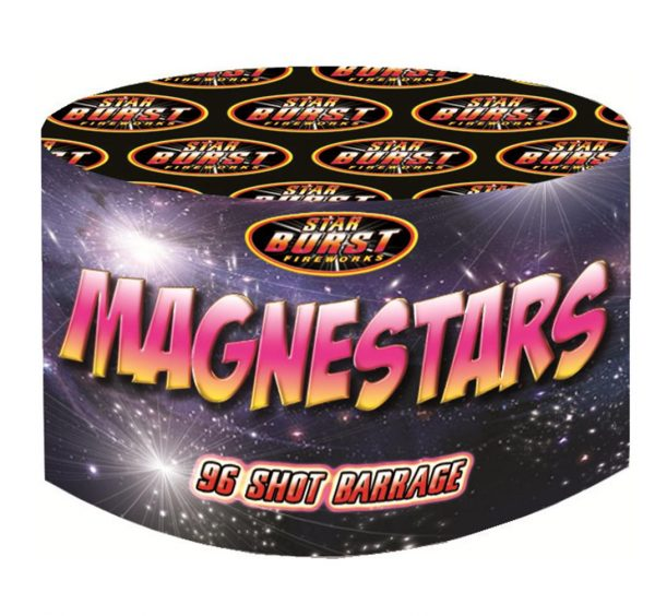 Magnestars Mini Barrage 96 shots Available from www.fireworks-cardiff.co.uk