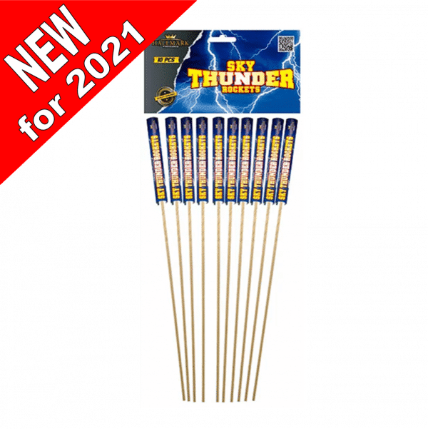 Pack Of 10 Sky Thunder Rockets From Cardiff Fireworks